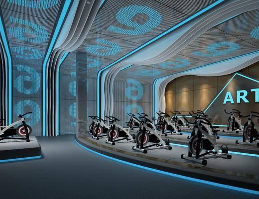 现代, 健身房, 单车室, 工装