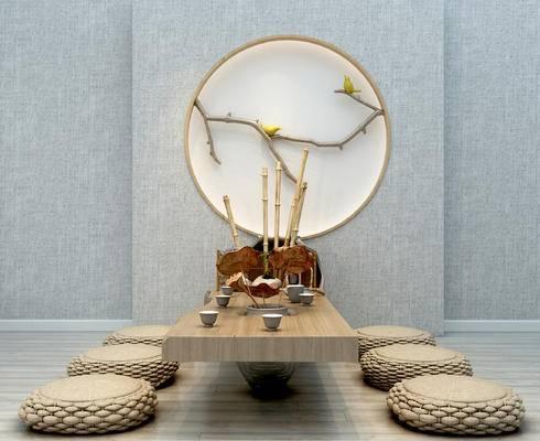 新中式, 喝茶区, 榻榻米, 墙饰, 摆件, 茶具