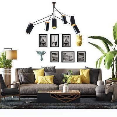 多人沙发, 布艺沙发, 茶几, 摆件, 装饰画, 吊灯, 北欧