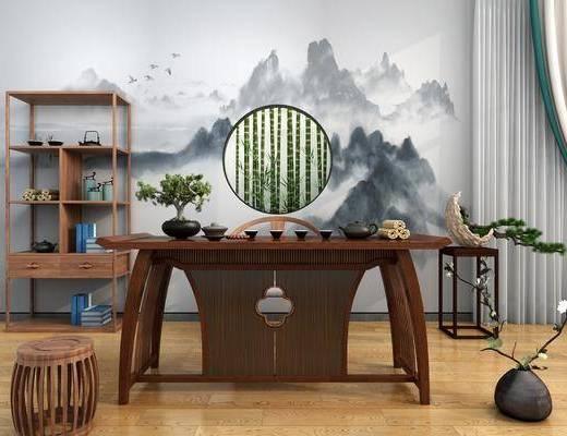 茶台, 根雕茶海, 茶桌, 单人椅, 凳子, 竹子, 装饰架, 盆栽, 绿植植物, 茶具, 摆件, 装饰品, 陈设品, 花瓶花卉, 中式