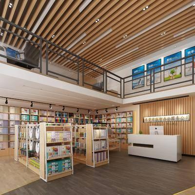 文具店, 书架, 前台, 书籍, 装饰画, 挂画, 装饰柜, 现代