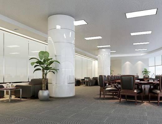 會議室, 辦公桌椅組合, 沙發組合, 盆栽組合, 綠植植物, 現代