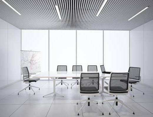 会议室, 办公桌, 会议桌, 办公椅, 单椅