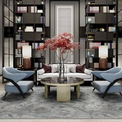 洽谈区, 会客区, 售楼处, 新中式会客区, 沙发, 茶几, 书柜