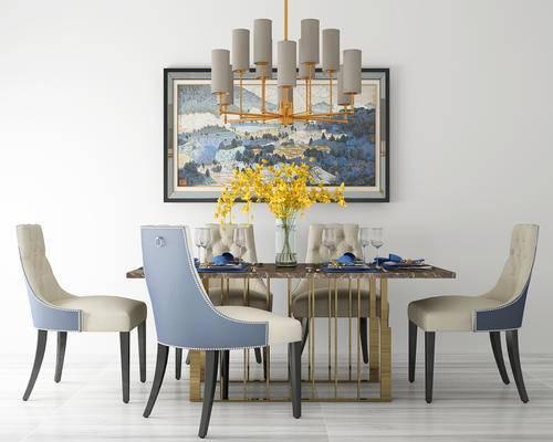 餐厅, 餐桌, 椅子, 餐桌椅, 吊灯, 装饰画, 绿植