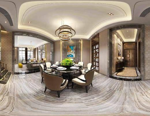 餐厅, 新中式餐厅, 餐桌椅, 餐具, 吊灯