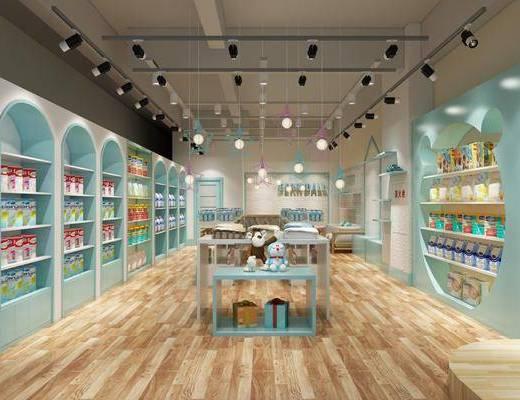 孕婴店, 装饰柜, 玩具, 零食, 吊灯, 北欧