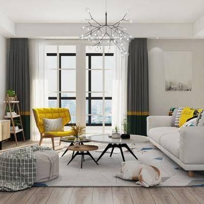 客厅, 北欧客厅, 现代客厅, 沙发组合, 北欧沙发, 沙发茶几组合