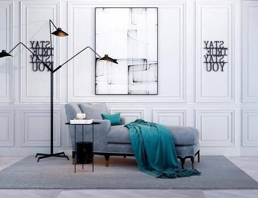 沙发椅, 边几, 装饰画, 落地灯, 壁灯