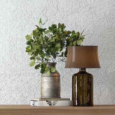 摆件组合, 花瓶, 植物, 台灯