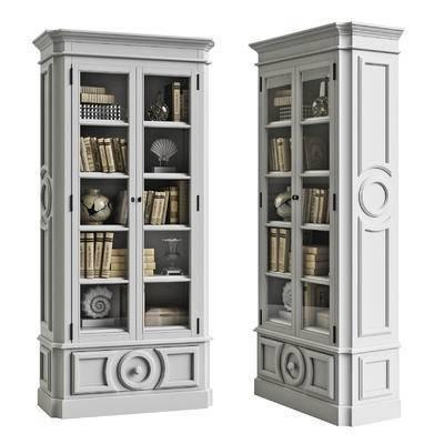 书柜, 装饰柜, 书籍, 摆件, 装饰品, 现代, 简欧