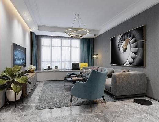 现代, 客餐厅, 沙发, 餐桌, 吊灯, 窗帘, 电视柜, 鞋柜