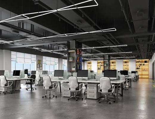 现代, 办公区, 桌椅组合