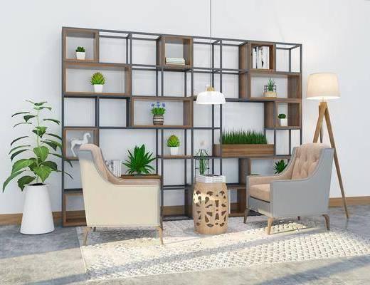 沙发组合, 多人沙发, 茶几, 柜架组合, 置物架, 摆件, 装饰品, 植物, 盆栽, 单椅, 落地灯, 现代, 现代柜架组合, 现代沙发组合