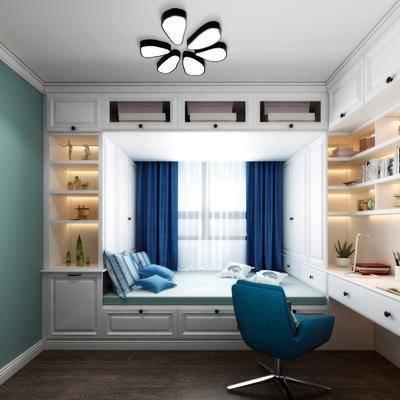 榻榻米, 卧室, 书房, 书桌, 装饰柜, 单人椅, 摆件, 现代