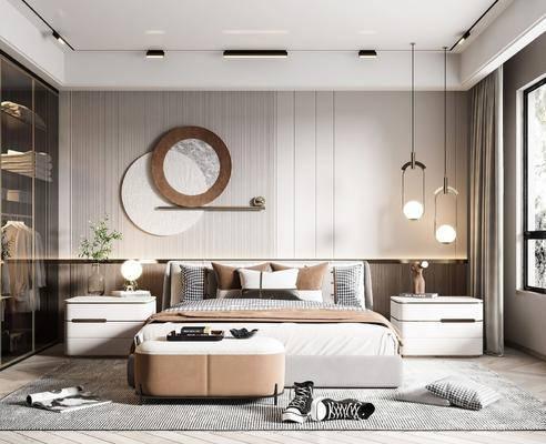 现代卧室, 墙饰, 吊灯, 双人床, 床头柜