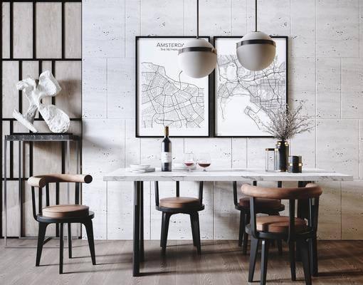 吊灯, 抽象, 石雕, 桌椅组合, 装饰画