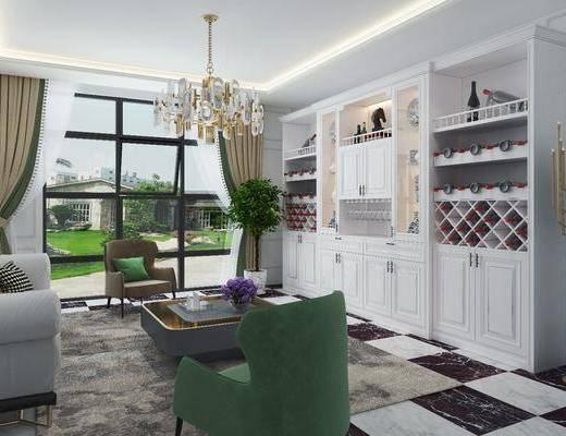 客厅, 酒柜, 装饰柜, 落地灯, 酒瓶, 吊灯, 茶几, 单人沙发, 多人沙发, 盆栽, 绿植植物, 现代