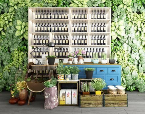 盆栽装饰, 矮柜, 植物墙, 酒水柜组合