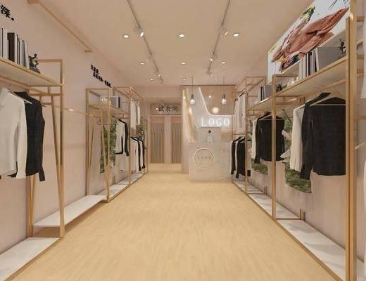 服装店, 门面门头, 衣架, 装饰架, 服饰, 前台, 吊灯, 现代简约