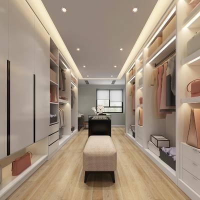 衣帽间, 装饰柜, 衣柜, 凳子, 展厅, 书桌, 单人椅, 摆件, 装饰品, 陈设品, 服饰, 现代
