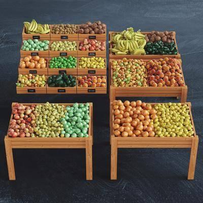 现代水果蔬菜陈列架组合, 现代, 水果, 蔬菜, 货架
