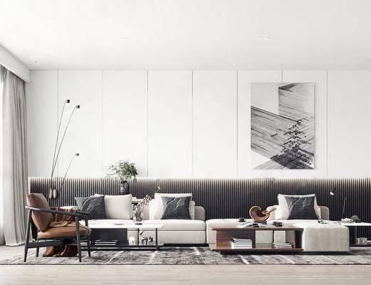 客厅, 沙发组合, 沙发茶几组合, 挂画, 摆件组合, 装饰品, 陈设品, 现代