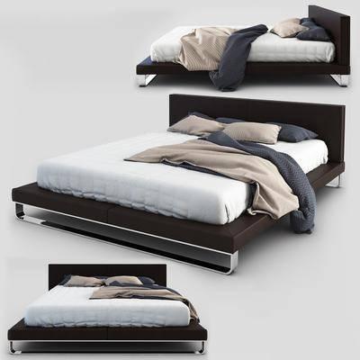 双人床, 现代双人床, 简约, 现代简约, 现代
