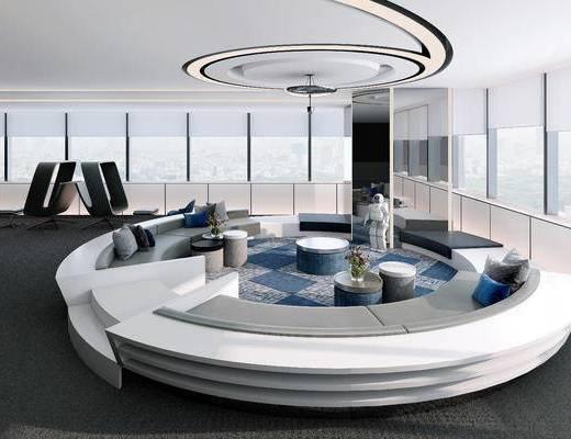 现代风会议室, 会议室, 沙发, 太空人, 茶几
