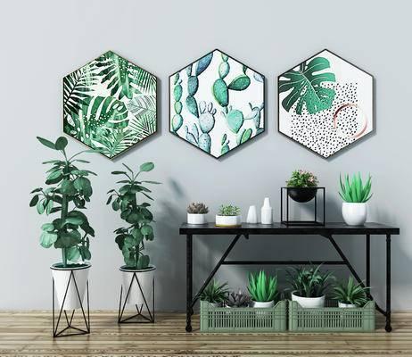 盆栽植物, 摆件组合, 挂画组合, 盆栽, 现代, 北欧, 端景台, 装饰画, 挂画
