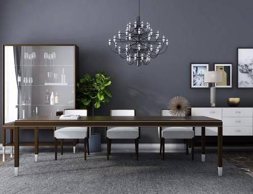 餐桌, 餐椅, 酒柜, 酒杯, 盆栽, 边几, 台灯, 吊灯, 装饰, 摆件, 现代