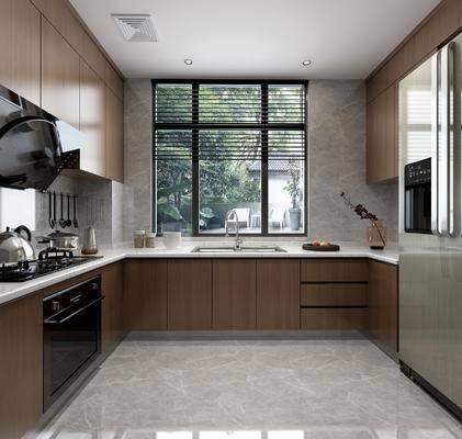 厨房组合, 橱柜, 摆件, 装饰品, 陈设品, 冰箱, 现代
