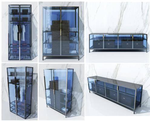 书柜, 装饰柜, 现代书柜, 现代装饰柜, 玻璃柜, 现代, 摆件组合