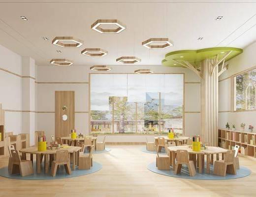 幼儿园, 现代幼儿园教室, 桌椅组合, 置物柜