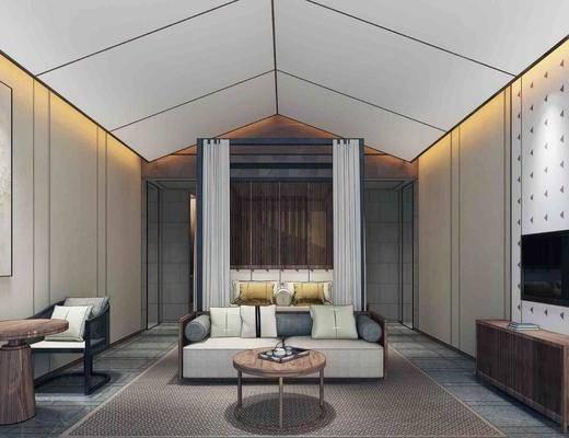 民宿?#39057;? 双人床, 双人沙发, 单人椅, 边几, 电视柜, 茶几, 台灯, 新中式