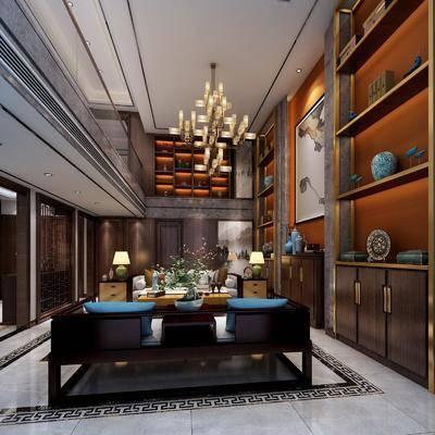 多人沙发, 边几, 茶几, 边柜, 装饰柜, 摆件, 台灯, 吊灯, 中式, 客厅
