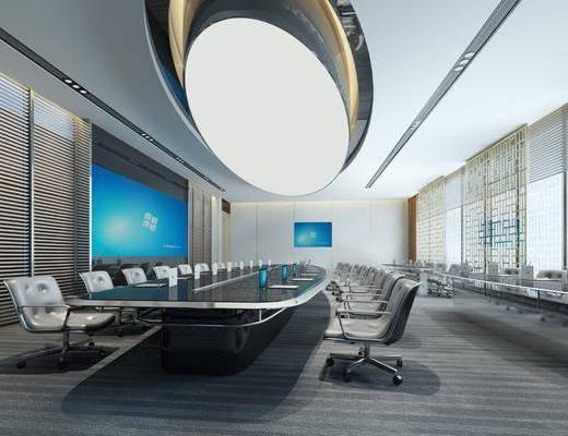 办公室, 会议桌, 办公桌, 办公椅, 单人椅, 轮滑椅, 现代