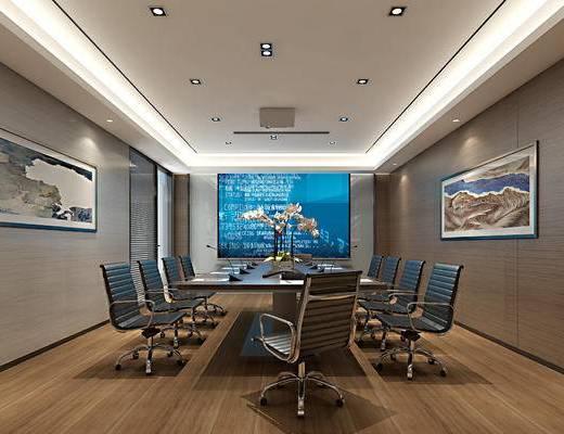 会议室, 会议桌, 椅子, 办公椅, 投影仪, 装饰画