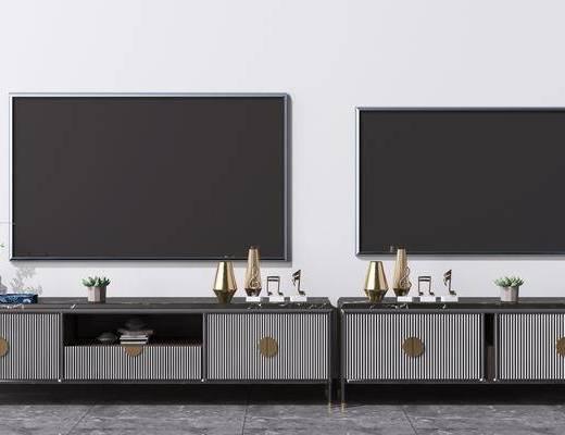 电视柜, 现代电视柜, 摆件组合