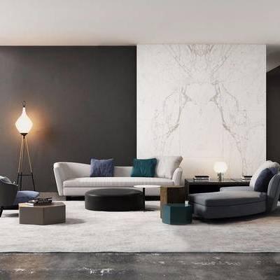 Minotti, 意大利, 现代, 沙发组合, 茶几, 多人沙发, 单人沙发, 落地灯