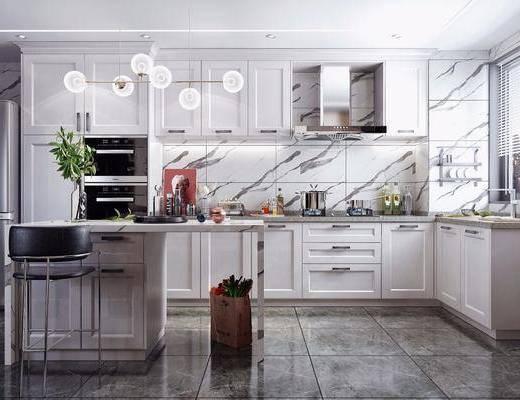 北歐廚房, 廚房, 櫥柜, 吧臺