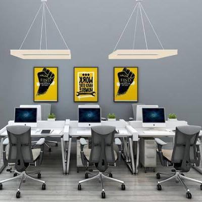 办公桌, 办公椅, 轮滑椅, 电脑, 摆件, 装饰画, 现代