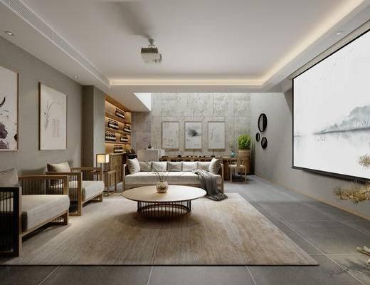 单椅, 茶几, 装饰画, 屏幕, 沙发组合