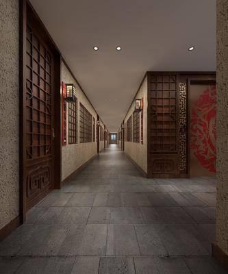 ?#39057;?#36807;道, 电梯厅, 壁灯, 中式