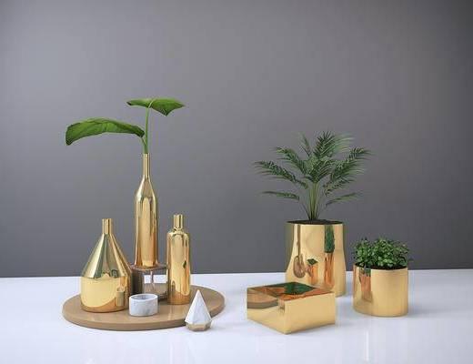 后现代, 金属, 植物盆栽, 摆件组合