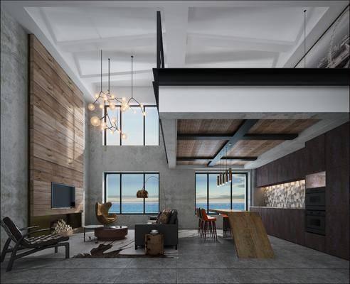 工业风挑高公寓客厅厨房, 工业风, 客厅, 沙发, 现代吊灯, 椅子, 餐厅, 餐桌椅