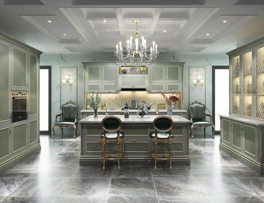 厨房, 吧台, 吧椅, 单人椅, 橱柜, 厨具, 吊灯, 酒柜, 壁灯, 单人沙发, 装饰柜, 装饰品, 陈设品, 摆件, 法式