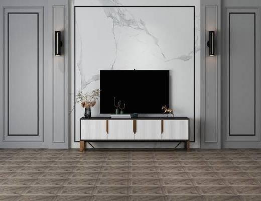 电视柜组合, 边柜组合, 壁灯组合, 摆件组合, 现代