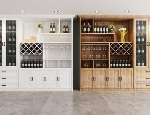 木纹酒柜, 酒柜, 酒瓶, 装饰柜, 现代