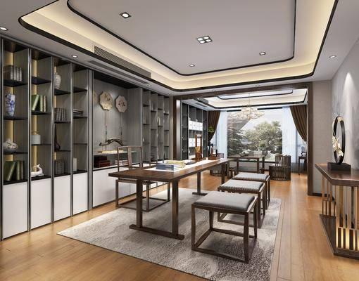 茶室, 新中式茶室, 桌椅组合, 单椅, 桌子, 茶具, 墙饰, 书籍, 摆件, 装饰品, 边几, 案几, 椅子, 新中式, 双十一